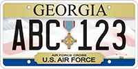 A license plate displaying the Air Force Cross.
