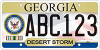 A license plate for veterans served during Desert Storm in the Navy.