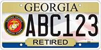 A license plate for retired veterans who served in the Marines.