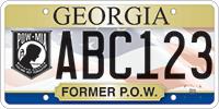 A Georgia veteran's license plate featuring the POW/MIA banner.