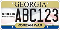 A Georgia veteran's license plate featuring the dates of the Battle of the Chosin Reservoir.