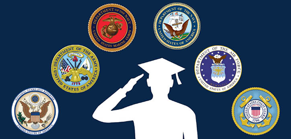 A silhouette wearing a graduation cap and tassel salutes the seals of the United States armed forces.