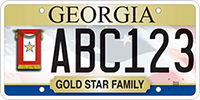 A Georgia veteran's license plate featuring the Gold Star Family banner.