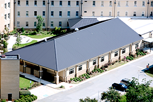 An aerial view of the Alzheimer's building at the Georgia War Veterans Home in Milledgeville.