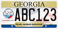 A Georgia veteran's license plate featuring the Ruptured Duck in honor of Pearl Harbor survivors.